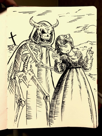 Oct 9: The entire dream looked like a medieval picture, complete with wonky anatomy. There was a skeleton who I recognized was death. It wasn't my time, and we both knew this, but he refused to let go.